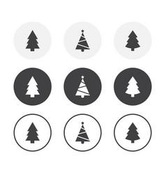 set 3 simple design christmas tree icons vector image