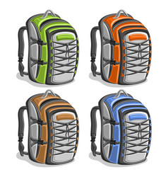 Set colorful touristic backpacks vector