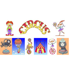 set hand drawing carton circus show vector image