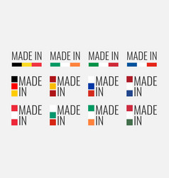 set labels made in spain italy germany vector image