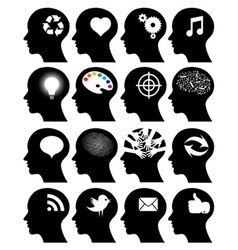 Set of 16 head icons with idea symbols vector image vector image