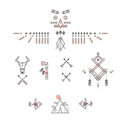 Set of american indian symbols Stylized linear vector image