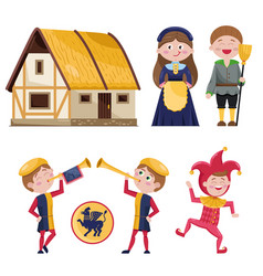 set of medieval characters and house vector image