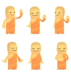Set of monk character in different poses vector