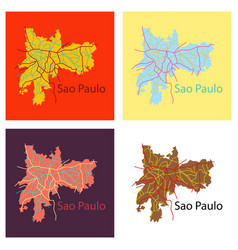 Set of sao paulo brazil flat map isolated vector