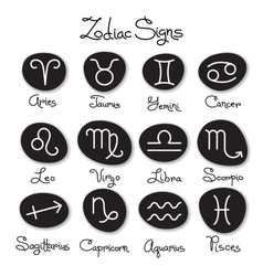 set simple zodiac signs with captions vector image
