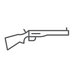 Shotgun thin line icon weapon and military rifle vector