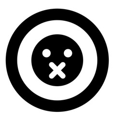 silence emoticon icon black color in circle vector image