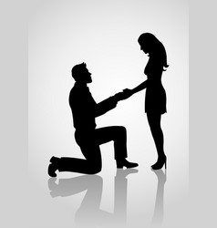 Silhouette of a proposing man vector