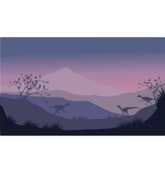 Silhouette of eoraptor in hills vector image