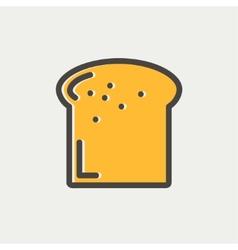 Single slice of bread thin line icon vector image