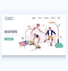 skaters website landing page design vector image