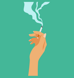 Smoking addiction concept cigarette in hand bad vector