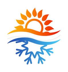 Snowflake and sun symbol vector