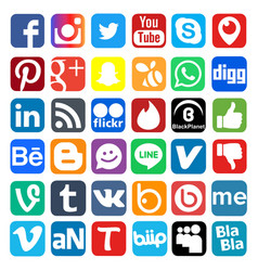Social network icon web buttons vector