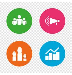 strike group of people megaphone loudspeaker vector image
