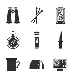 Survival kit icons set vector