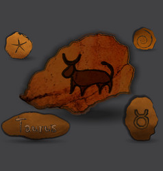tauruszodiac in the form of cave painting vector image