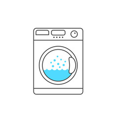 thin line washing machine with blue bubble vector image