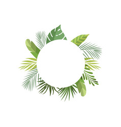 tropical leaves frame with space for text banner vector image