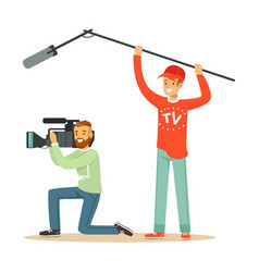 tv people at work recording news vector image