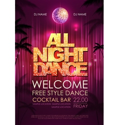 Typography Disco background Disco poster all nigh vector image