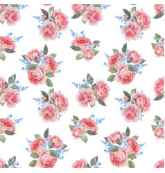 watercolor rose floral pattern vector image
