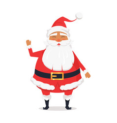 waving happy santa claus on white background vector image