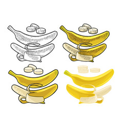 Whole and half peeled banana black vintage vector