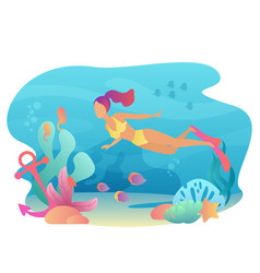 Woan snorkeling swims underwater with sea flora vector
