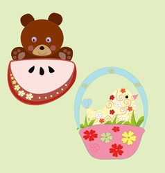 baby bear and bird vector image
