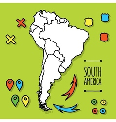 Cartoon style hand drawn travel map of South vector image vector image