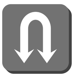 Double Back Arrow Rounded Square Icon vector image
