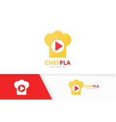 button play and chef hat logo combination vector image vector image
