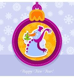 christmas ball postcard snowman with fir-tree vector image vector image