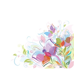 floral background butterfly vector image vector image
