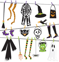 halloween costume clothesline vector image vector image