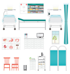 medical equipment and furniture in hospital vector image