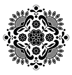 Norwegian black folk art Bunad pattern - Rosemalin vector image vector image