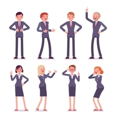 Set of eight business male and female characters vector image