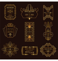 Wedding Invitation Cards - Art Deco Vintage Style vector image vector image