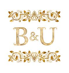 Bu vintage initials logo symbol letters b vector