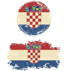 Croatian round and square grunge flags vector image vector image