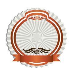 orange emblem with ribbon decoration icon vector image vector image