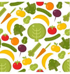 vegetables healthy food seamless pattern vector image