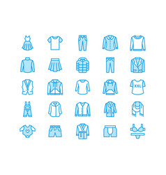 Clothing fasion flat line icons men women vector