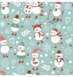 Cute snowmen seamless pattern vector image vector image