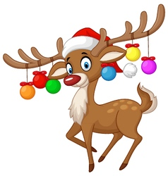 Deer with Christmas ball vector image vector image