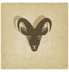 Goat head symbol old background vector