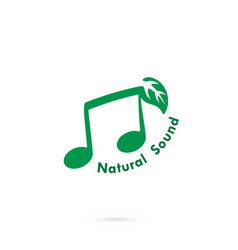 Green leaves icon with musical note logo design vector